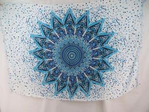 blue on white Inidan star thousand dots mandala sarong wholesale fashion clothing