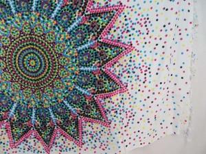 pink blue on white Inidan star thousand dots mandala sarong