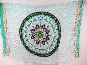 paisley mandala white light teal sarong sexy wrap pareo teal blue edge