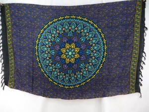 bohemian mandala circle sarong tapestry wall hanging black purple turquoise