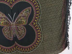 Thousand dots butterfly black earth tone bedspread wall art