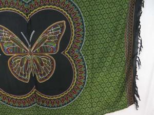 Thousand dots butterfly black green boho bedspread hippie wall art