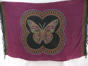 Thousand dots butterfly black fuchsia boho bedspread hippie wall art