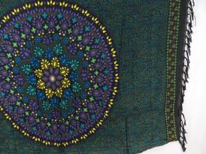 bohemian mandala circle sarong tapestry wall hanging black teal blue