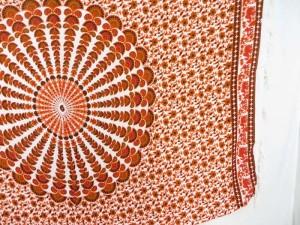 orange red on white peacock feather mandala sarong