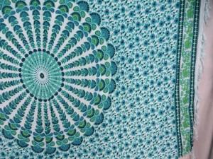 teal blue on white peacock feather mandala sarong beach pareo wrap