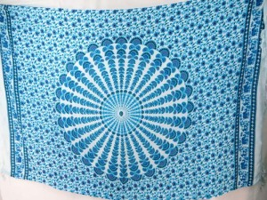 blue on white peacock feather mandala sarong