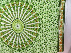 green on white peacock feather mandala sarong