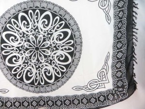 black and white Celtic circle sarong beach pareo wrap