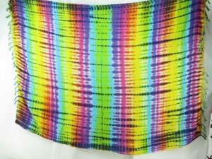 rainblow verticle stripes tie dye sarong hippie clothing accessory