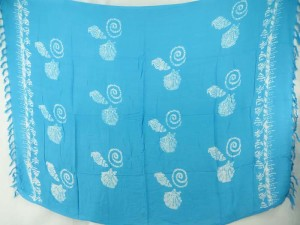 turquoise blue monocolor sarong with gecko, flower, turtel, fish, sun, dolphin, seashell, palm trees etc tropical designs