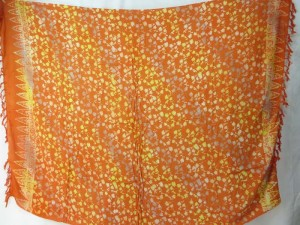 double processs orange brown sarong mini flowers