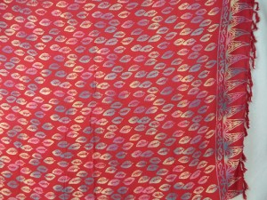 double processs red sarong leaf design