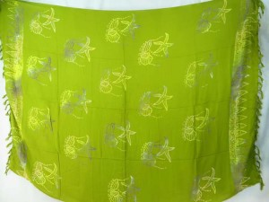 mono color green seashell starfish sarong