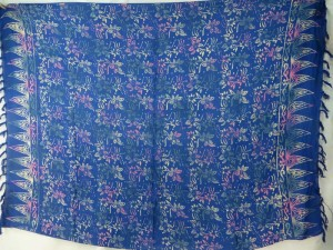 blue flower double process sarong