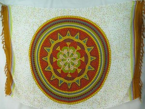 red earth Indian star mandala sarong earth tone edge