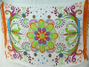 giant floral butterfly on white sarong orange edge