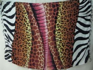 animal skin sarong brown pink on centre