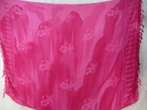 fuchsia hibiscus tie dye sarong summer dress beach cover up