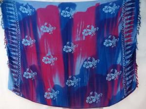Hawaiian hibiscus tie dye blue fuchsia sarong