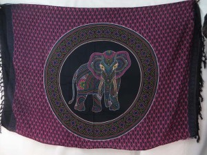 thousand dots lucky elephant mandala circle sarong fuchsia black