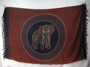 thousand dots lucky elephant mandala circle sarong orange black