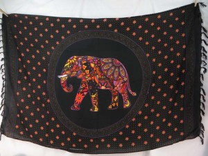 mosaic lucky elephant mandala circle sarong orange black