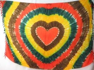 yellow dark green orange brown heart tie dye sarong heppy punk clothing