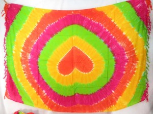 yellow green orange pink heart tie dye sarong resort wear for women and men