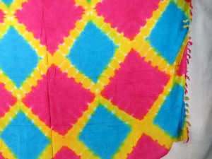 tie dye diamond shape tiles turquoise pink yellow sarong