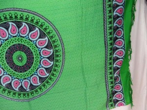 Green Hippie Paisley Mandala Tapestries Wall Hanging Sarong