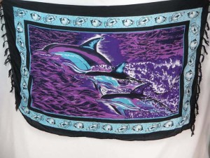 purple sarong Hawaiian tropical sealife triple dolphin sexy wrap beach dress