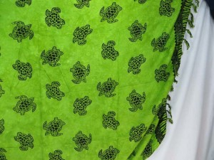 green sarong Hawaiian tropical sealife turtle sexy wrap beach dress