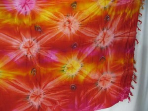 red yellow orange tone star burst tie dye sarong