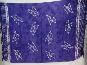 purple monocolor sarong with gecko, flower, turtel, fish, sun, dolphin, seashell, palm trees etc tropical designs
