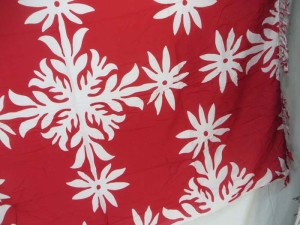 red sarong with white snowflakes