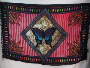 butterfly in diamond frame pink color sarong
