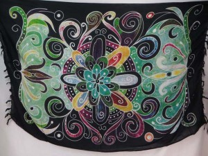 giant butterfly floral pattern sarongs green tone black edge