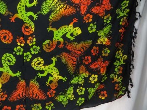 green red butterflies on black sarong