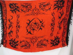 red gecko tribal primitive tattoo summer apparel sarong