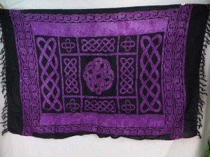 interlaced knotwork purple wall hanging wrap sarong pareo