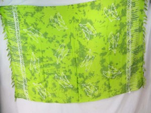 lime green monocolor sarong with gecko, flower, turtel, fish, sun, dolphin, seashell, palm trees etc tropical designs