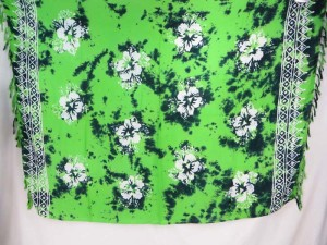 green monocolor sarong with gecko, flower, turtel, fish, sun, dolphin, seashell, palm trees etc tropical designs