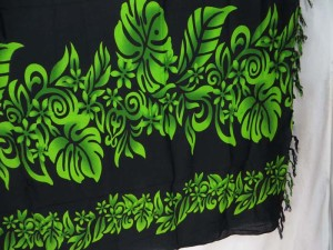 black tropical floral sarong