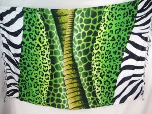 Shawl Scarf Pareo Green Animal Skin Luau Cruise Sarong Bikini Wrap Skirt