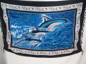 Triple Dolphin Sarong Blue Pareos Beach Coverup Sexy Wrap Dress