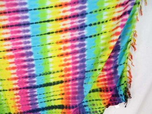 Rainbow Tie Dye Beachwear Wrap Around Sarong Pareo Dress Swimwear Coverup Skirt