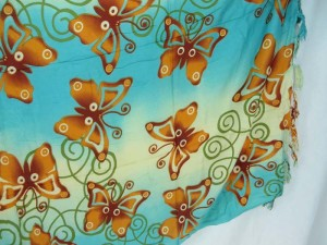 blue beige flying butterfly sarong kanga lava-lava