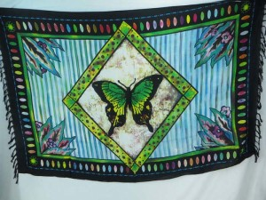 butterfly in diamond frame blue color sarong