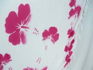 pink and white hibiscus Hawaiian flowers sarong